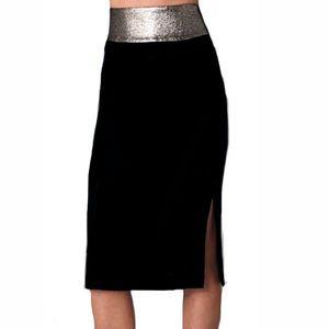 DVF Elvina Crepe metallic and black skirt